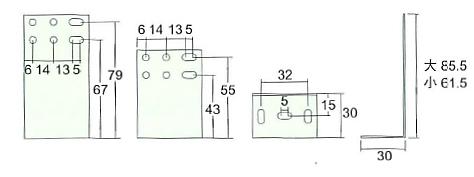 アイワ スライドレール用直立ブラケット AP-1201C 寸法