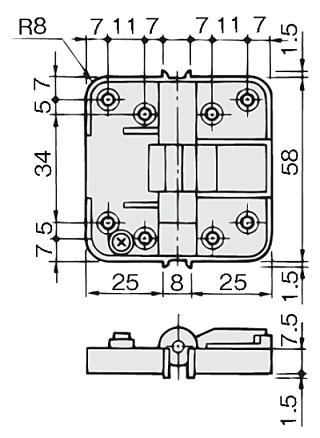 アトムHD-47間仕切折戸用丁番 寸法