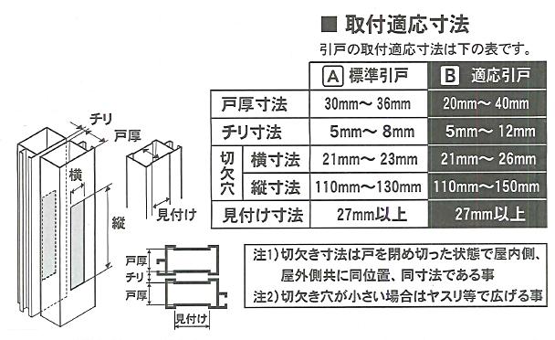 薄型万能引違錠 GA-900DX 適応寸法