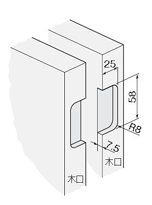 アトム間仕切丁番(HD-37、HD-38)取付加工寸法